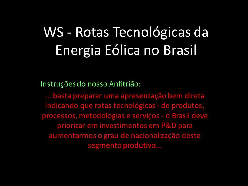 WS - Rotas Tecnológicas da Energia Eólica no Brasil Instruções do nosso Anfitrião:... basta preparar uma apresentação bem direta indicando que rotas t
