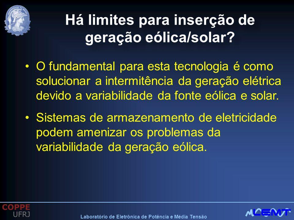 Laboratório de Eletrônica de Potência e Média Tensão Há limites para inserção de geração eólica/solar? O fundamental para esta tecnologia é como soluc