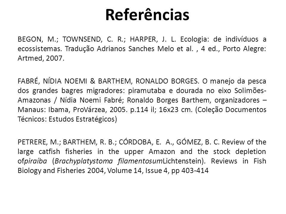BEGON, M.; TOWNSEND, C. R.; HARPER, J. L. Ecologia: de indivíduos a ecossistemas. Tradução Adrianos Sanches Melo et al., 4 ed., Porto Alegre: Artmed,