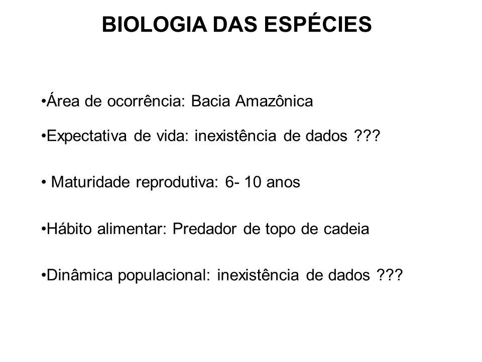 BIOLOGIA DAS ESPÉCIES Área de ocorrência: Bacia Amazônica Expectativa de vida: inexistência de dados ??? Maturidade reprodutiva: 6- 10 anos Hábito ali