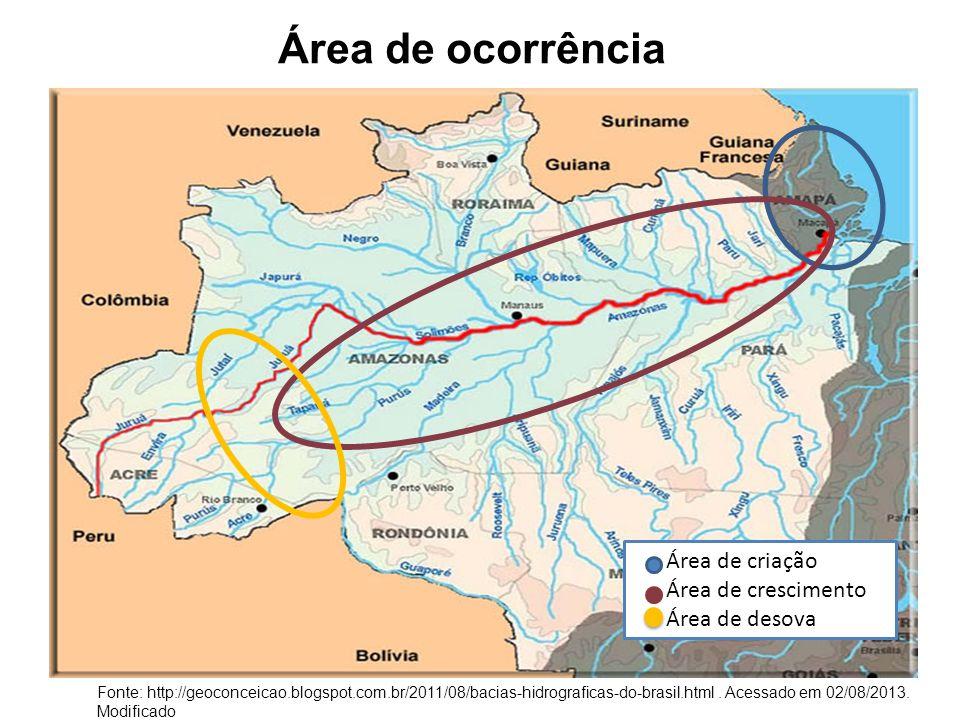 Área de ocorrência Fonte Área de criação Área de crescimento Área de desova Fonte: http://geoconceicao.blogspot.com.br/2011/08/bacias-hidrograficas-do