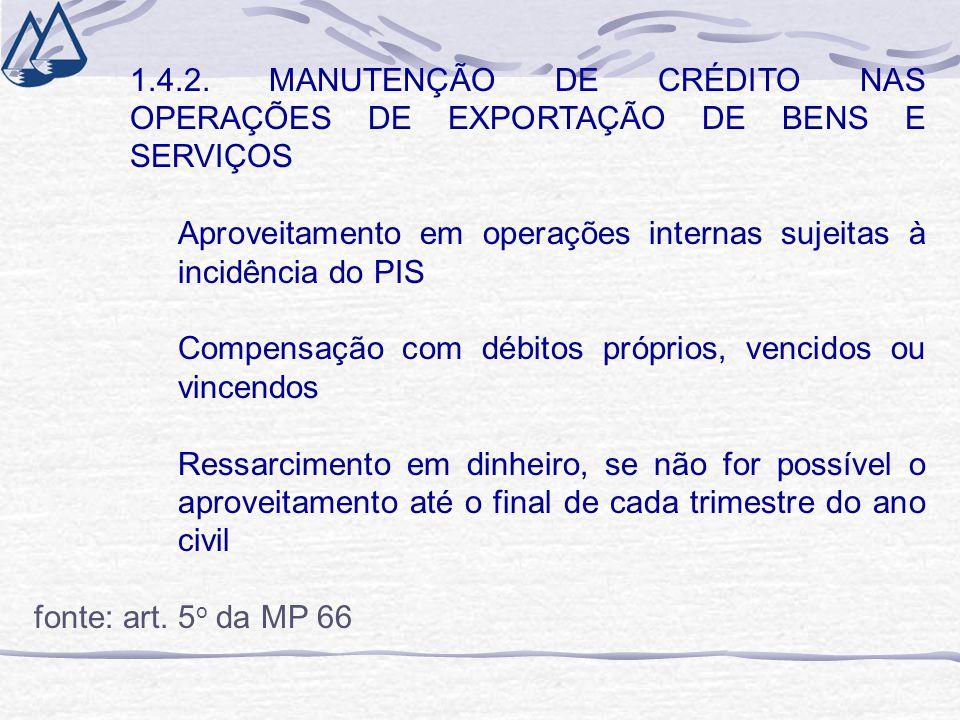 1.4.2. MANUTENÇÃO DE CRÉDITO NAS OPERAÇÕES DE EXPORTAÇÃO DE BENS E SERVIÇOS Aproveitamento em operações internas sujeitas à incidência do PIS Compensa