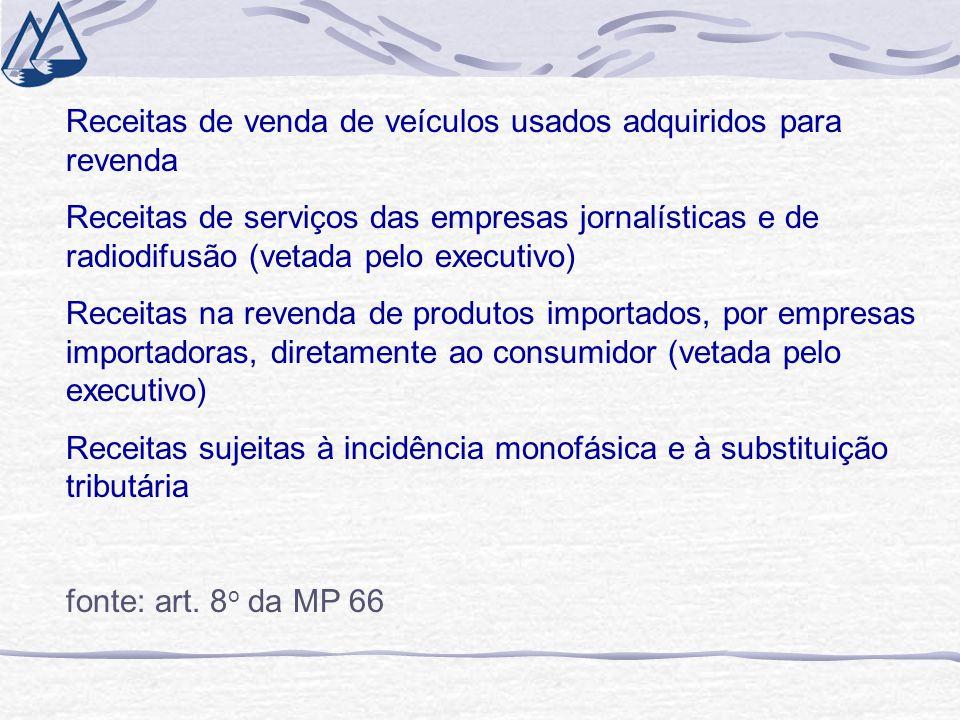 Receitas de venda de veículos usados adquiridos para revenda Receitas de serviços das empresas jornalísticas e de radiodifusão (vetada pelo executivo)