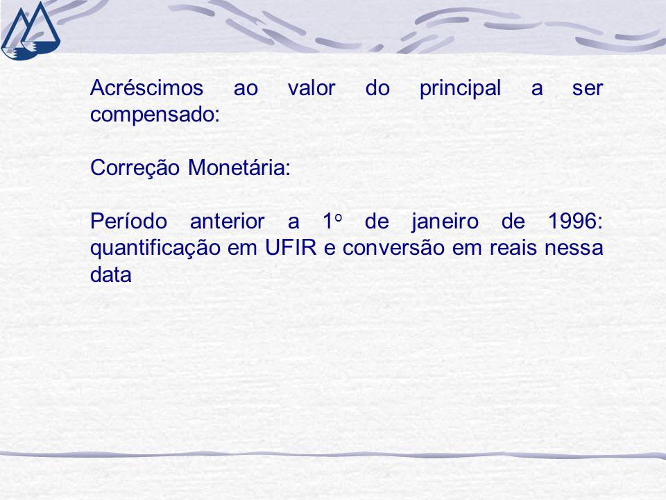 Acréscimos ao valor do principal a ser compensado: Correção Monetária: Período anterior a 1 o de janeiro de 1996: quantificação em UFIR e conversão em
