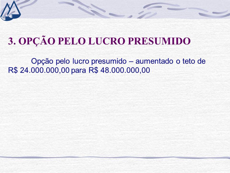 3. OPÇÃO PELO LUCRO PRESUMIDO Opção pelo lucro presumido – aumentado o teto de R$ 24.000.000,00 para R$ 48.000.000,00