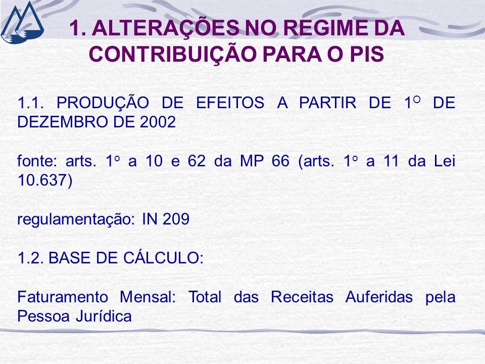1. ALTERAÇÕES NO REGIME DA CONTRIBUIÇÃO PARA O PIS 1.1. PRODUÇÃO DE EFEITOS A PARTIR DE 1 O DE DEZEMBRO DE 2002 fonte: arts. 1 o a 10 e 62 da MP 66 (a