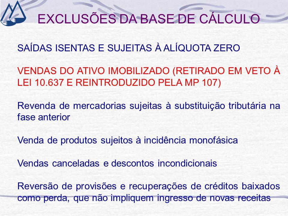 EXCLUSÕES DA BASE DE CÁLCULO SAÍDAS ISENTAS E SUJEITAS À ALÍQUOTA ZERO VENDAS DO ATIVO IMOBILIZADO (RETIRADO EM VETO À LEI 10.637 E REINTRODUZIDO PELA