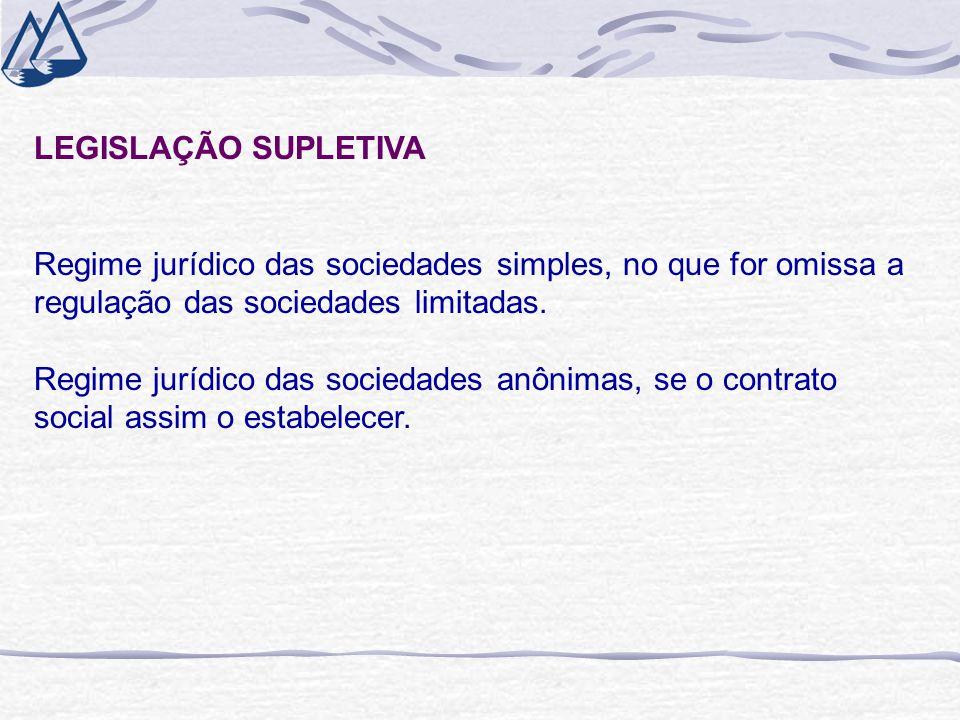 LEGISLAÇÃO SUPLETIVA Regime jurídico das sociedades simples, no que for omissa a regulação das sociedades limitadas. Regime jurídico das sociedades an