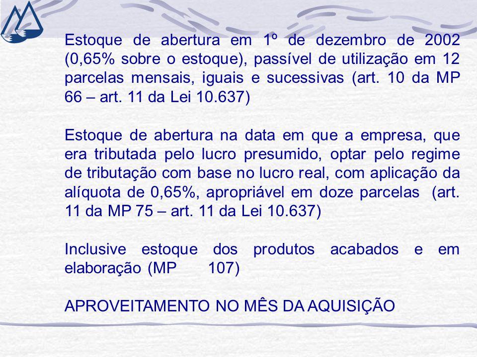 Estoque de abertura em 1º de dezembro de 2002 (0,65% sobre o estoque), passível de utilização em 12 parcelas mensais, iguais e sucessivas (art. 10 da