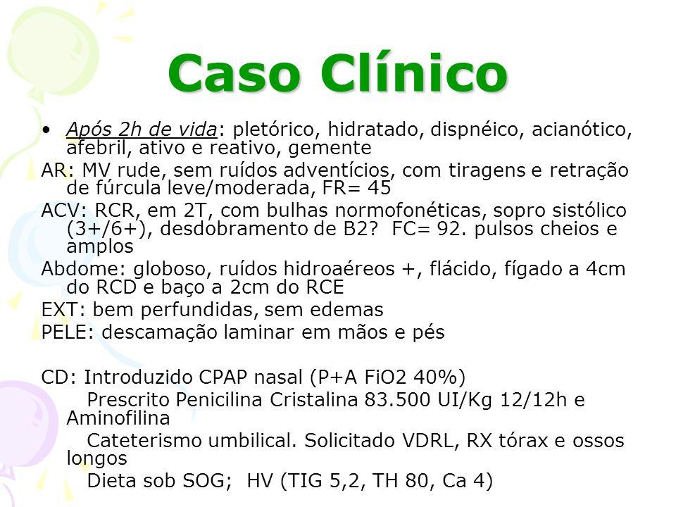 Caso Clínico Após 4h de vida: feito punção lombar e solicitado VDRL do líquor; CPAP nasal 100% Após 13h de vida: relato de troca de fralda com urina e mecônio após HV.