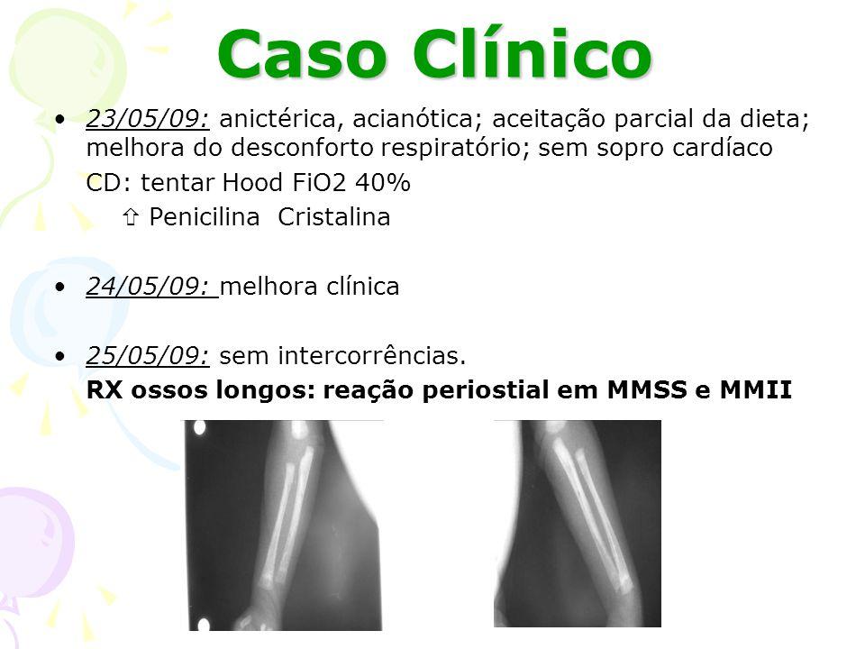 Caso Clínico 26/05/09: sugando bem em seio materno, porém sem ganho ponderal importante CD: suspenso Aminofilina, SNG com leite humano do banco + seio materno 27/05/09: auscultado sopro sistólico CD: mantida 28/05/09: visceromegalias em regressão CD: mantida Fundoi de Olho (15/6/2009): NORMAL Biópsia de placenta: P= 280g (SEM CORDÃO E MEMBRANAS), do 3° trimestre gestação, com sinais de infecção hematogênica e/ou ascendente (vilite histiocítica; subcoriomnionite aguda; corioamnionite aguda; flebite umbilical necrosante).
