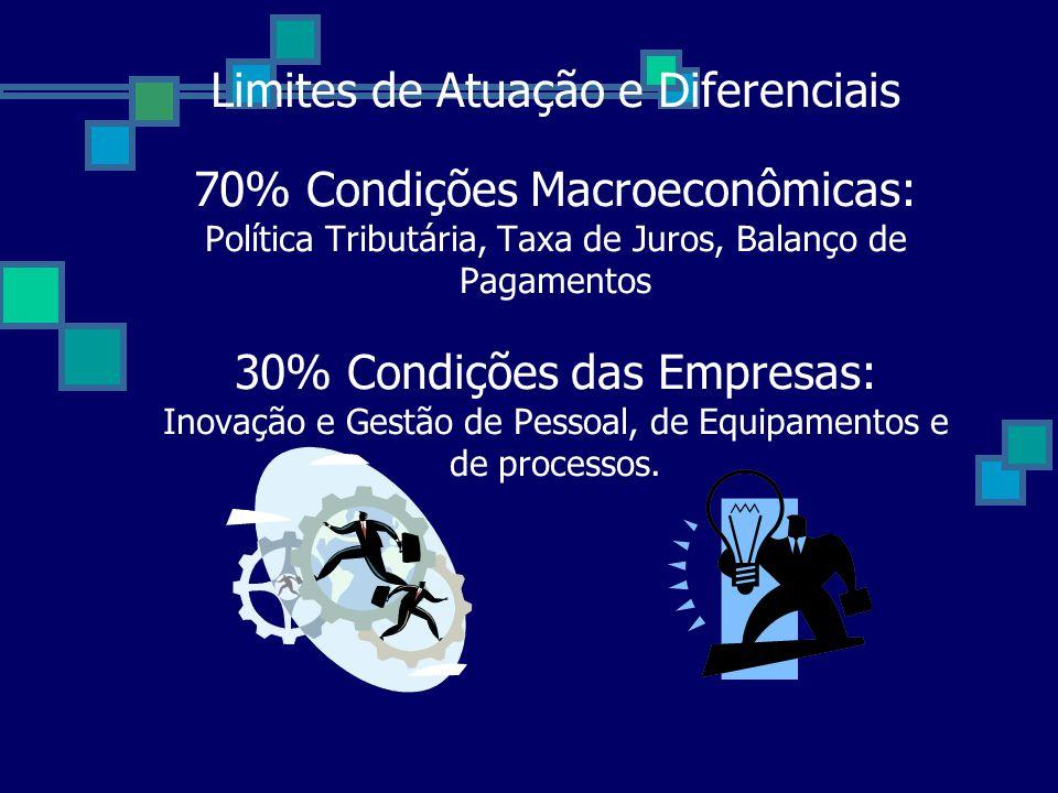 Limites de Atuação e Diferenciais 70% Condições Macroeconômicas: Política Tributária, Taxa de Juros, Balanço de Pagamentos 30% Condições das Empresas: Inovação e Gestão de Pessoal, de Equipamentos e de processos.