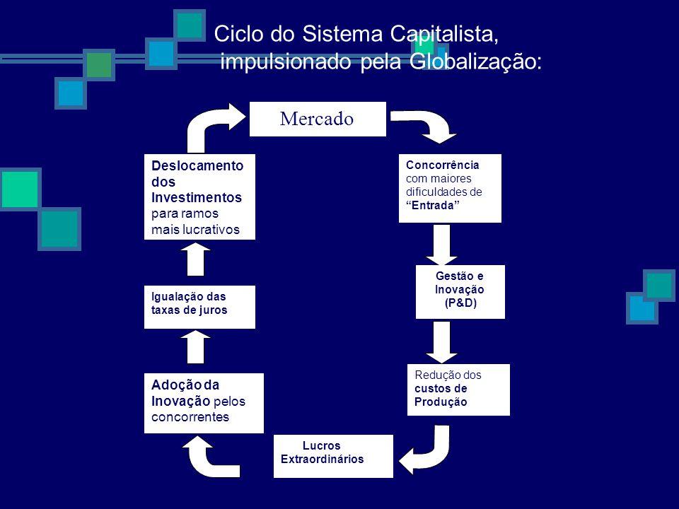 Ciclo do Sistema Capitalista, impulsionado pela Globalização: Deslocamento dos Investimentos para ramos mais lucrativos Mercado Concorrência com maiores dificuldades de Entrada Igualação das taxas de juros Adoção da Inovação pelos concorrentes Gestão e Inovação (P&D) Redução dos custos de Produção Lucros Extraordinários
