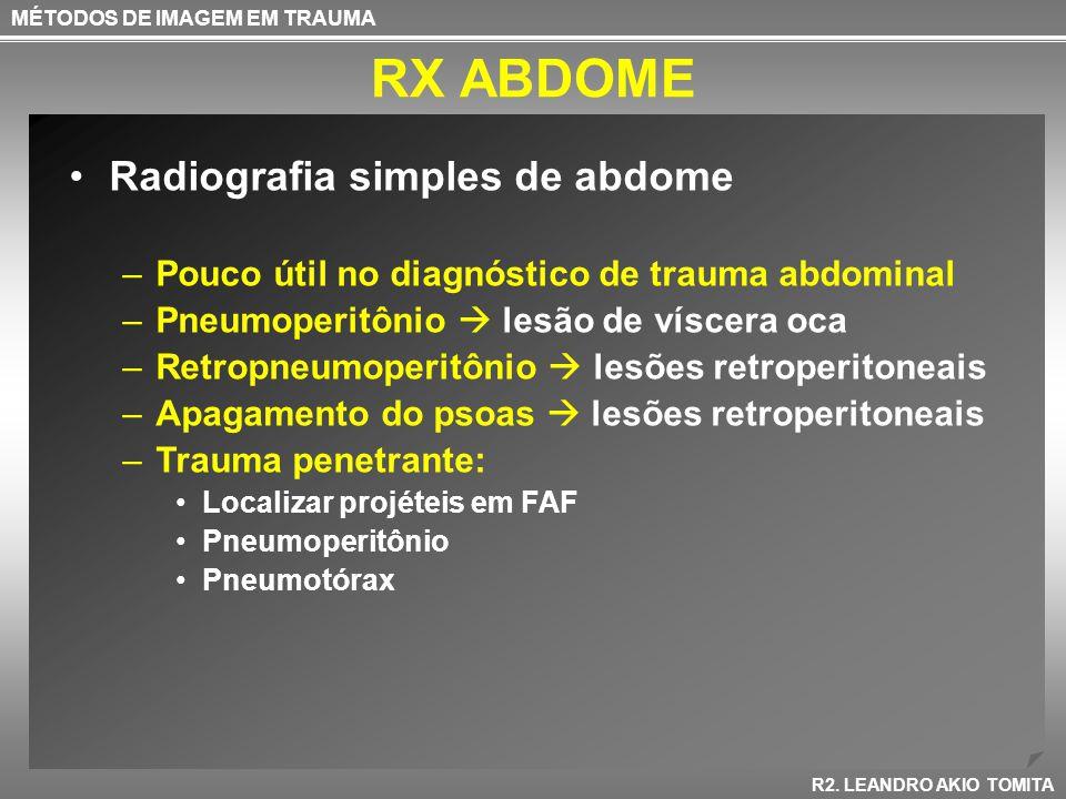 RX ABDOME MÉTODOS DE IMAGEM EM TRAUMA R2. LEANDRO AKIO TOMITA Radiografia simples de abdome –Pouco útil no diagnóstico de trauma abdominal –Pneumoperi