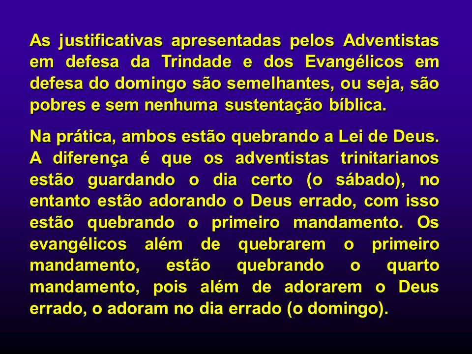 As justificativas apresentadas pelos Adventistas em defesa da Trindade e dos Evangélicos em defesa do domingo são semelhantes, ou seja, são pobres e s