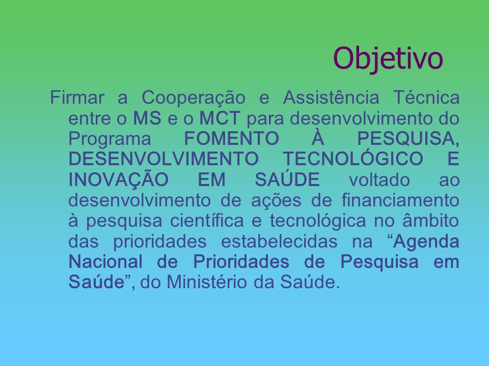 Objetivo Firmar a Cooperação e Assistência Técnica entre o MS e o MCT para desenvolvimento do Programa FOMENTO À PESQUISA, DESENVOLVIMENTO TECNOLÓGICO