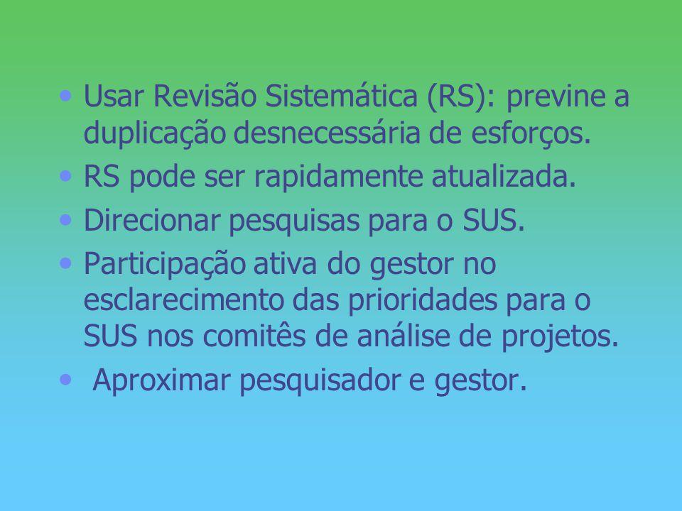 Usar Revisão Sistemática (RS): previne a duplicação desnecessária de esforços. RS pode ser rapidamente atualizada. Direcionar pesquisas para o SUS. Pa