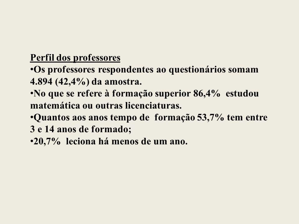 Perfil dos professores Os professores respondentes ao questionários somam 4.894 (42,4%) da amostra.