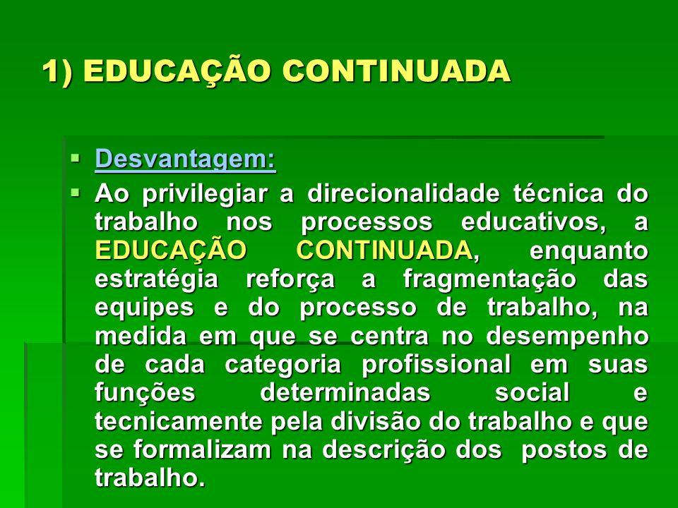 1) EDUCAÇÃO CONTINUADA Desvantagem: Desvantagem: Ao privilegiar a direcionalidade técnica do trabalho nos processos educativos, a EDUCAÇÃO CONTINUADA,