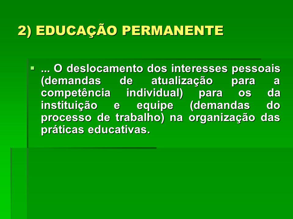 2) EDUCAÇÃO PERMANENTE... O deslocamento dos interesses pessoais (demandas de atualização para a competência individual) para os da instituição e equi
