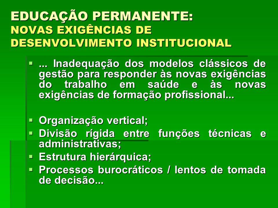 ... Inadequação dos modelos clássicos de gestão para responder às novas exigências do trabalho em saúde e às novas exigências de formação profissional