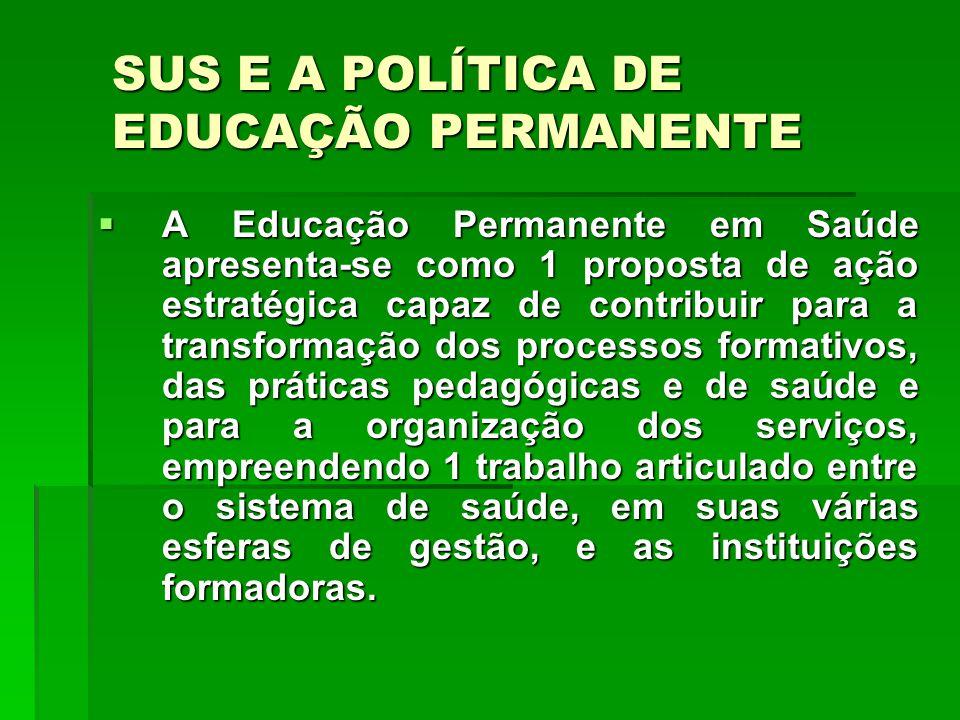 A Educação Permanente em Saúde apresenta-se como 1 proposta de ação estratégica capaz de contribuir para a transformação dos processos formativos, das