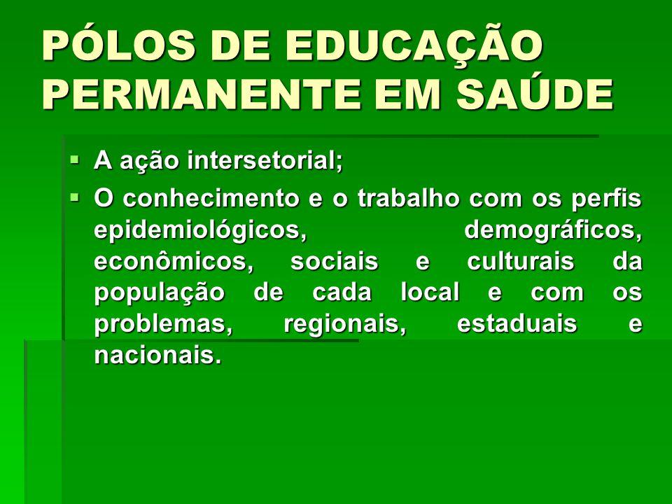 PÓLOS DE EDUCAÇÃO PERMANENTE EM SAÚDE A ação intersetorial; A ação intersetorial; O conhecimento e o trabalho com os perfis epidemiológicos, demográfi