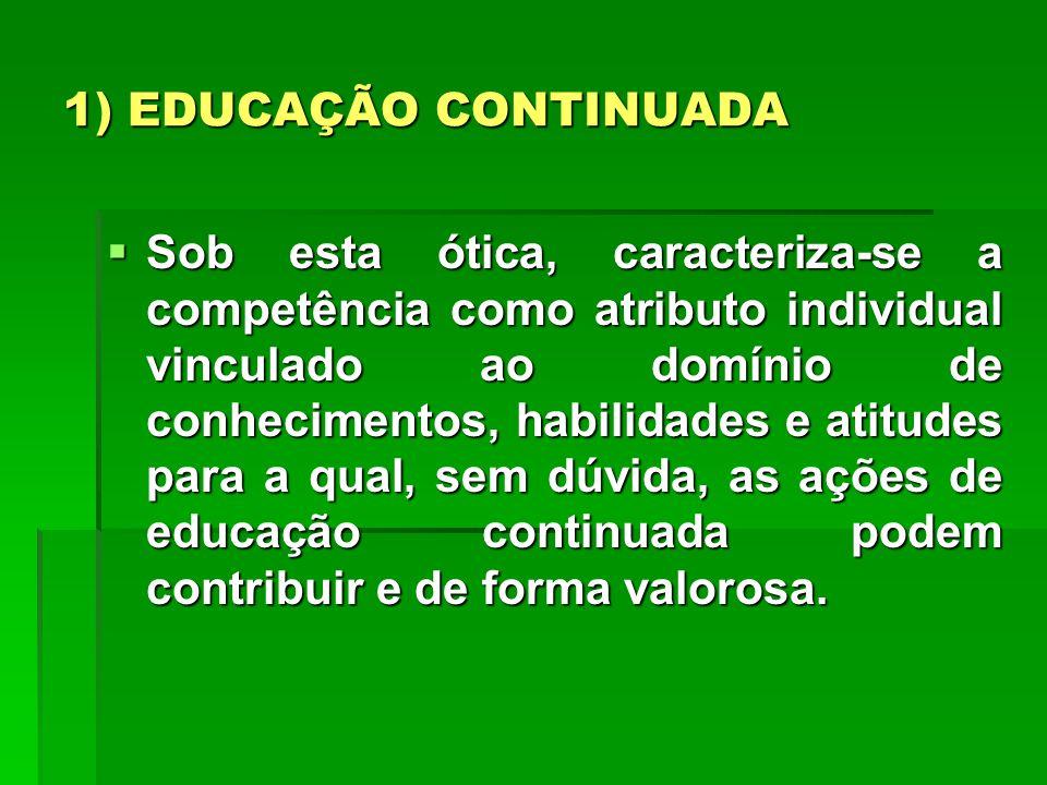 1) EDUCAÇÃO CONTINUADA Sob esta ótica, caracteriza-se a competência como atributo individual vinculado ao domínio de conhecimentos, habilidades e atit