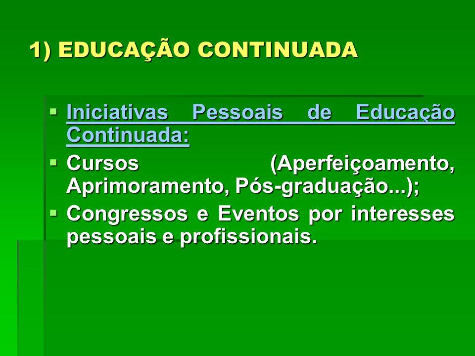 1) EDUCAÇÃO CONTINUADA Iniciativas Pessoais de Educação Continuada: Iniciativas Pessoais de Educação Continuada: Cursos (Aperfeiçoamento, Aprimorament