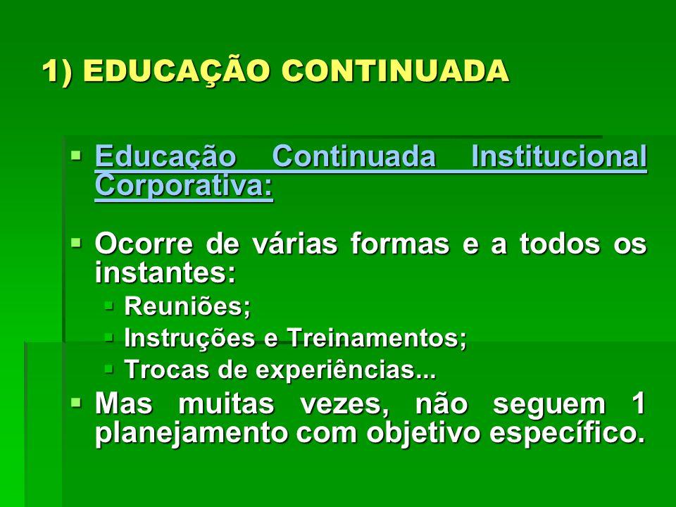 1) EDUCAÇÃO CONTINUADA Educação Continuada Institucional Corporativa: Educação Continuada Institucional Corporativa: Entretanto, a competência corporativa só é efetivamente desenvolvida através de uma estratégia eficaz de aprimoramento constante de seus colaboradores.