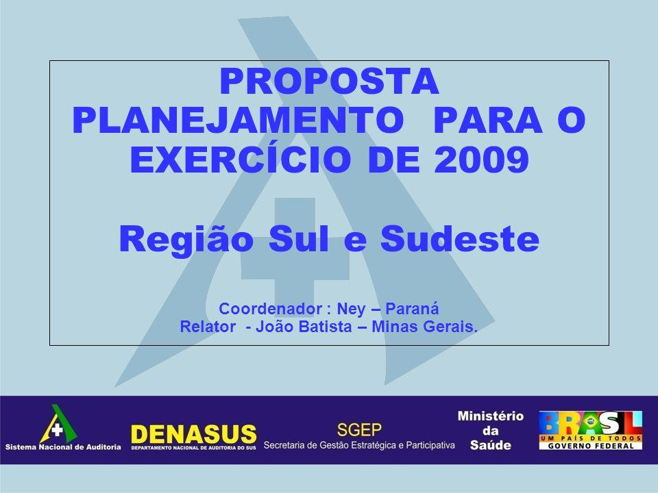 PROPOSTA PLANEJAMENTO PARA O EXERCÍCIO DE 2009 Região Sul e Sudeste Coordenador : Ney – Paraná Relator - João Batista – Minas Gerais.