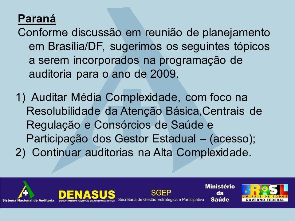 Paraná Conforme discussão em reunião de planejamento em Brasília/DF, sugerimos os seguintes tópicos a serem incorporados na programação de auditoria para o ano de 2009.