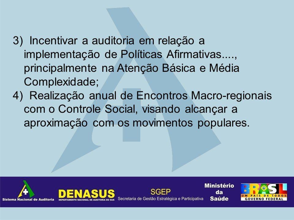3) Incentivar a auditoria em relação a implementação de Políticas Afirmativas...., principalmente na Atenção Básica e Média Complexidade; 4) Realização anual de Encontros Macro-regionais com o Controle Social, visando alcançar a aproximação com os movimentos populares.