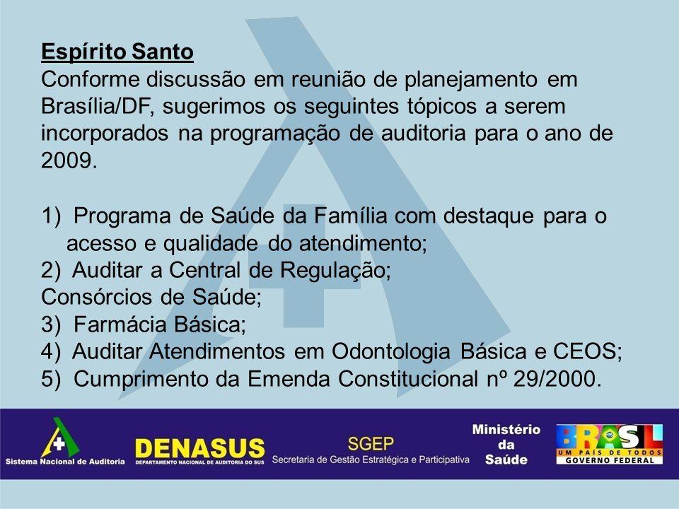 Espírito Santo Conforme discussão em reunião de planejamento em Brasília/DF, sugerimos os seguintes tópicos a serem incorporados na programação de auditoria para o ano de 2009.