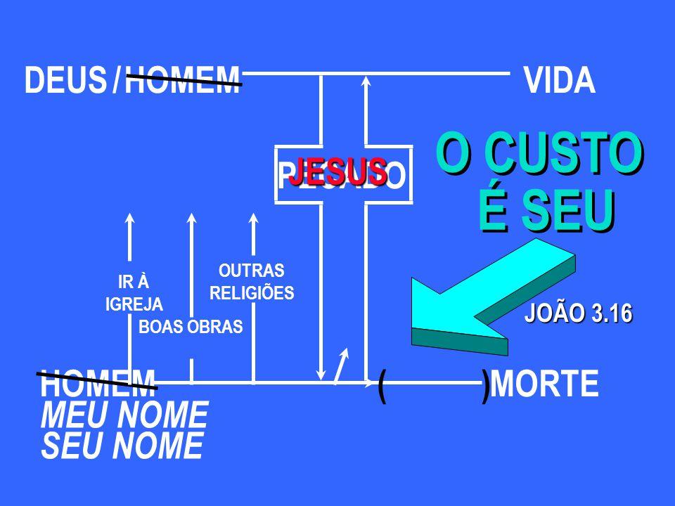 HOMEM PECADO JOÃO 3.16 ( ) O CUSTO É SEU O CUSTO É SEU MEU NOME SEU NOME BOAS OBRAS IR À IGREJA OUTRAS RELIGIÕES MORTE DEUS/VIDA JESUS