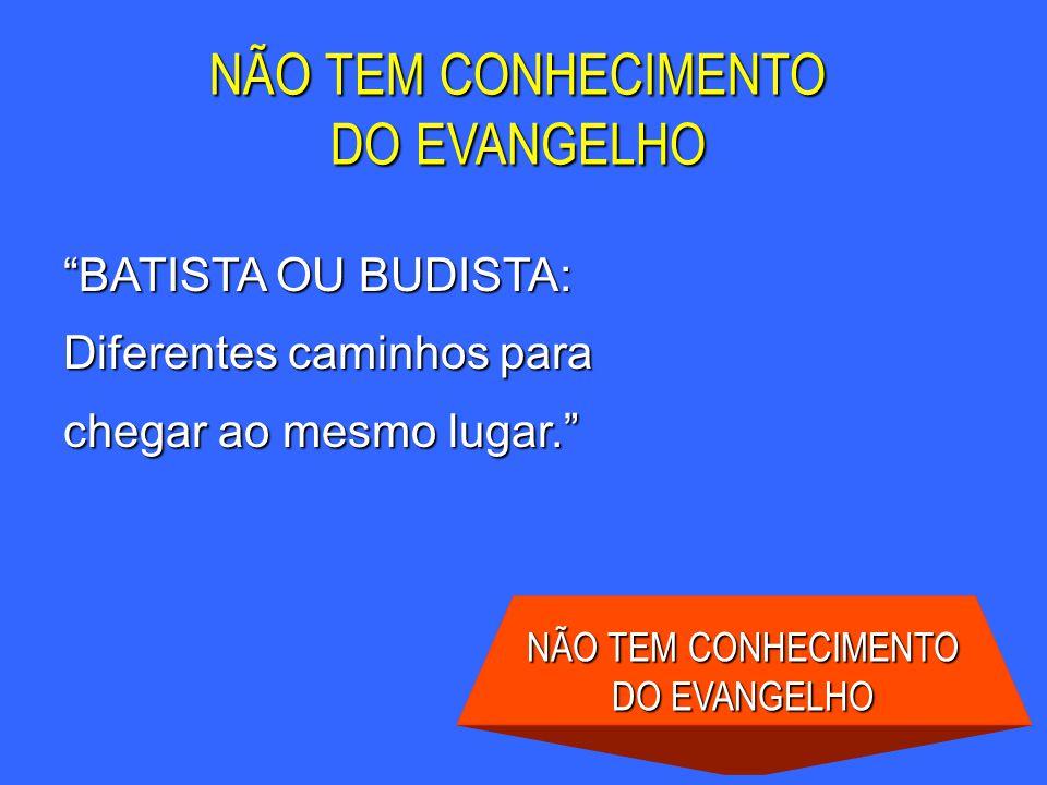 BATISTA OU BUDISTA: Diferentes caminhos para chegar ao mesmo lugar. NÃO TEM CONHECIMENTO DO EVANGELHO NÃO TEM CONHECIMENTO DO EVANGELHO