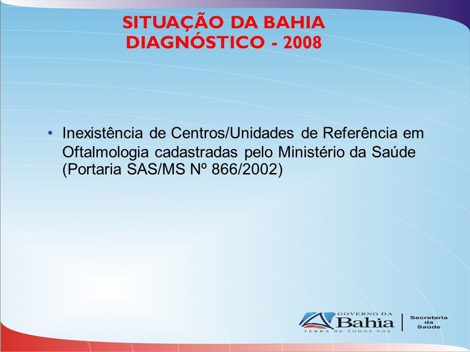 Oferta em 15% dos municípios (64 municípios) - 31 municípios em Gestão Plena (48%) - 33 municípios sob Gestão Estadual (52%) SITUAÇÃO DA BAHIA Assistência Oftalmólogica/Consultas Oftalmológicas