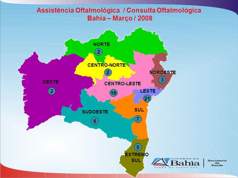 SUL LESTE CENTRO-LESTE NORDESTE Assistência Oftalmológica / Consulta Oftalmológica Bahia – Março / 2008 OESTE CENTRO-NORTE NORTE SUDOESTE SUL EXTREMO SUL LESTE 5 2 7 2 2 16 21 3 6