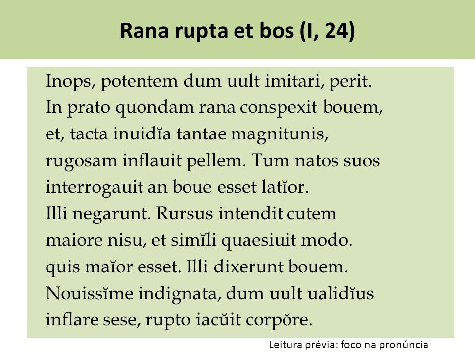 Rana rupta et bos (I, 24) Inops, potentem dum uult imitari, perit. In prato quondam rana conspexit bouem, et, tacta inuidĭa tantae magnitunis, rugosam
