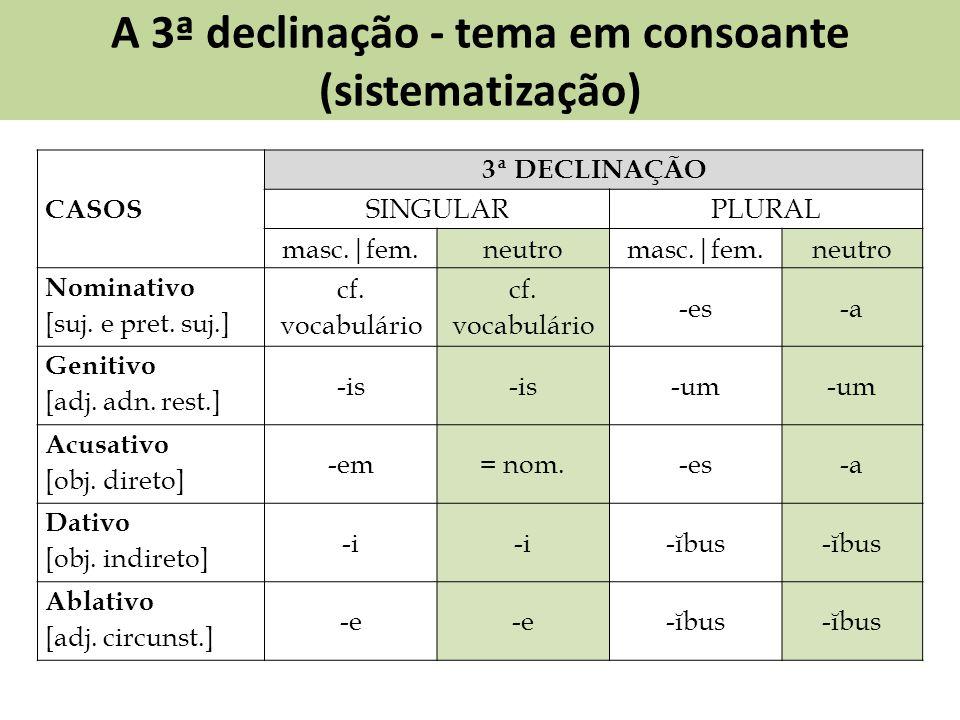 A 3ª declinação - tema em consoante (sistematização) CASOS 3ª DECLINAÇÃO SINGULARPLURAL masc.|fem.neutromasc.|fem.neutro Nominativo [suj. e pret. suj.