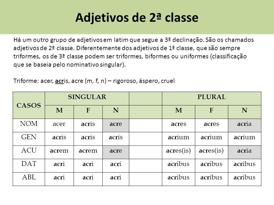 Adjetivos de 2ª classe Há um outro grupo de adjetivos em latim que segue a 3ª declinação. São os chamados adjetivos de 2ª classe. Diferentemente dos a