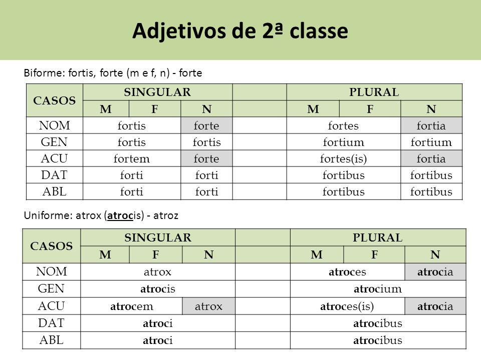 Adjetivos de 2ª classe Biforme: fortis, forte (m e f, n) - forte CASOS SINGULARPLURAL MFNMFN NOMfortisfortefortesfortia GENfortis fortium ACUfortemfor