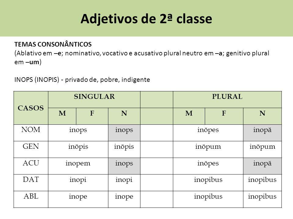 Adjetivos de 2ª classe TEMAS CONSONÂNTICOS (Ablativo em –e; nominativo, vocativo e acusativo plural neutro em –a; genitivo plural em –um) INOPS (INOPI