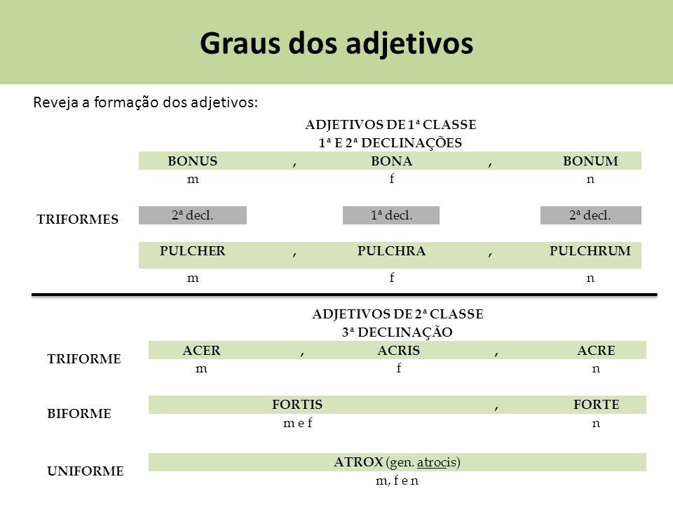 Graus dos adjetivos Reveja a formação dos adjetivos: ADJETIVOS DE 1ª CLASSE 1ª E 2ª DECLINAÇÕES TRIFORMES BONUS,BONA,BONUM mfn 2ª decl.1ª decl.2ª decl