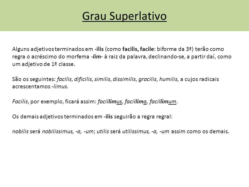 Grau Superlativo Alguns adjetivos terminados em -ilis (como facilis, facile: biforme da 3ª) terão como regra o acréscimo do morfema -lim- à raiz da pa