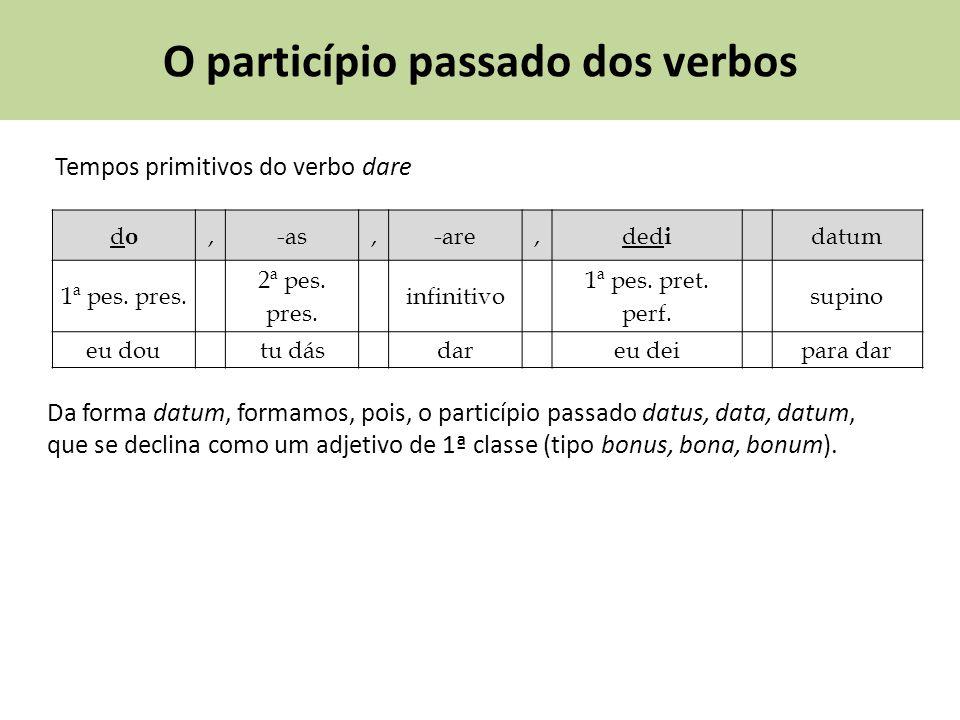 O particípio passado dos verbos Tempos primitivos do verbo dare dodo,-as,-are,ded i datum 1ª pes. pres. 2ª pes. pres. infinitivo 1ª pes. pret. perf. s