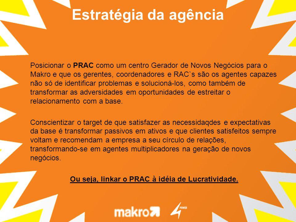 Posicionar o PRAC como um centro Gerador de Novos Negócios para o Makro e que os gerentes, coordenadores e RAC`s são os agentes capazes não só de identificar problemas e solucioná-los, como também de transformar as adversidades em oportunidades de estreitar o relacionamento com a base.