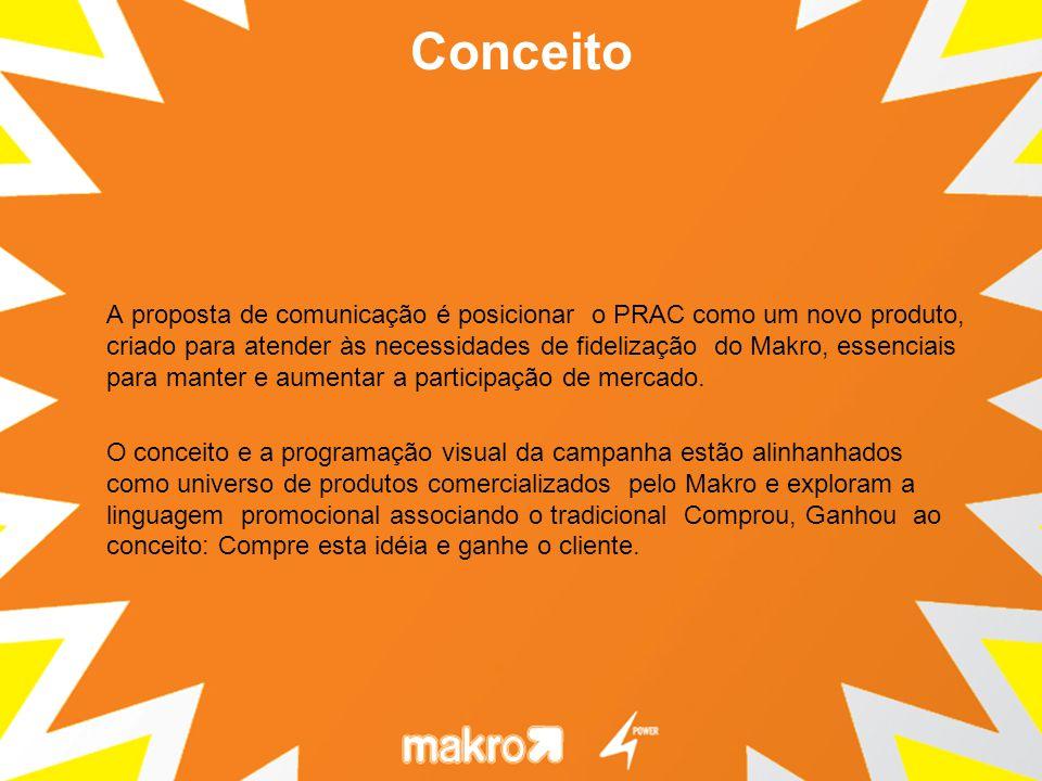 A proposta de comunicação é posicionar o PRAC como um novo produto, criado para atender às necessidades de fidelização do Makro, essenciais para mante