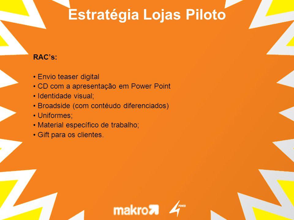 RACs: Envio teaser digital CD com a apresentação em Power Point Identidade visual; Broadside (com contéudo diferenciados) Uniformes; Material específi