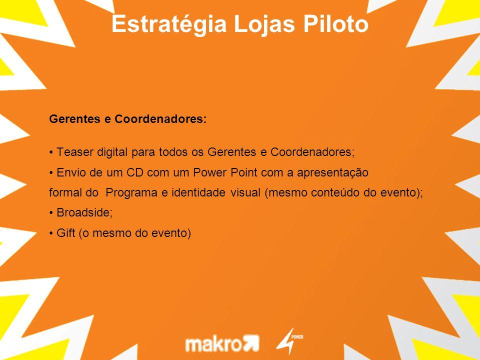 Gerentes e Coordenadores: Teaser digital para todos os Gerentes e Coordenadores; Envio de um CD com um Power Point com a apresentação formal do Progra